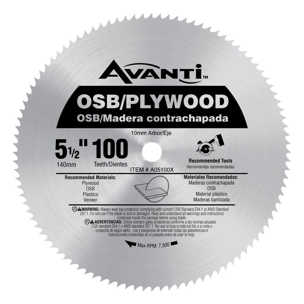 Avanti 5 1 2 In X 100 Teeth Osb Plywood Saw Blade A05100x The Home Depot