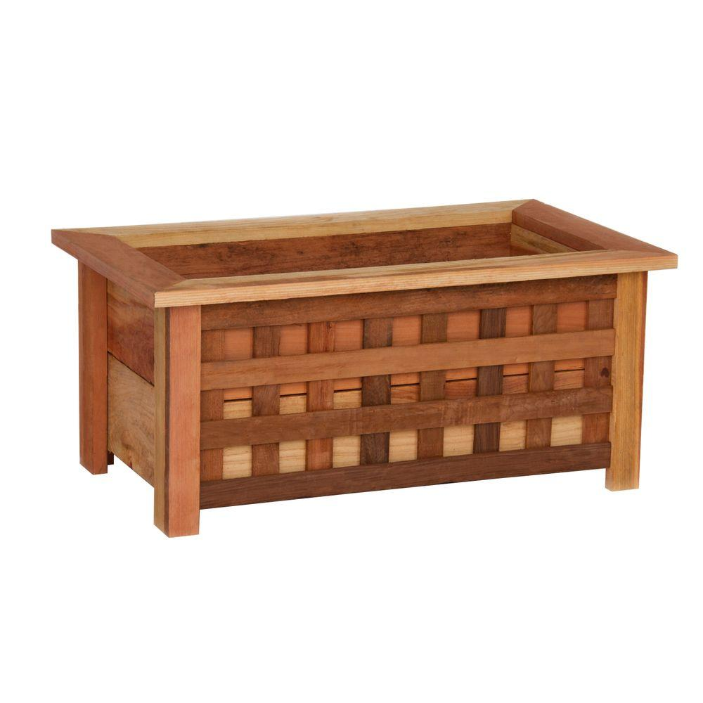 Hollis Wood Products 18 in. x 31 in. Wood Planter Box with Lattice-DISCONTINUED