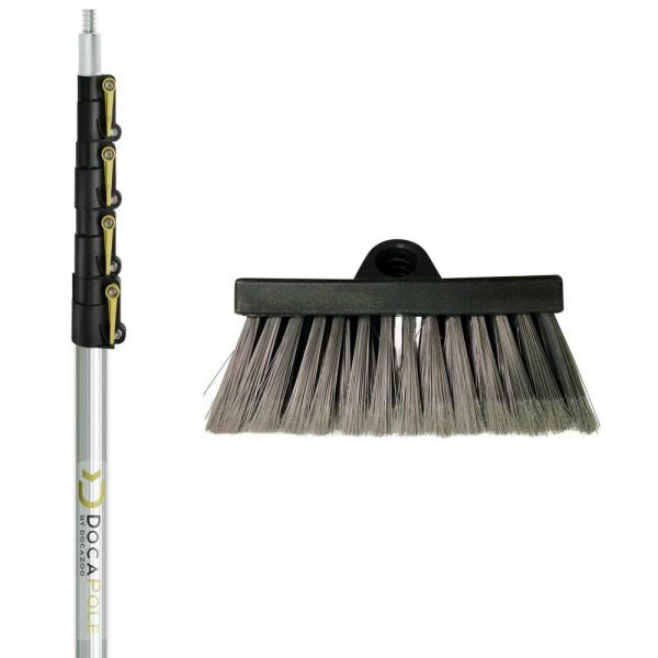 7 ft. to 30 ft. Extension Pole + Big Reach Soft Bristle Scrub Brush Car Wash Brush and Extension Pole