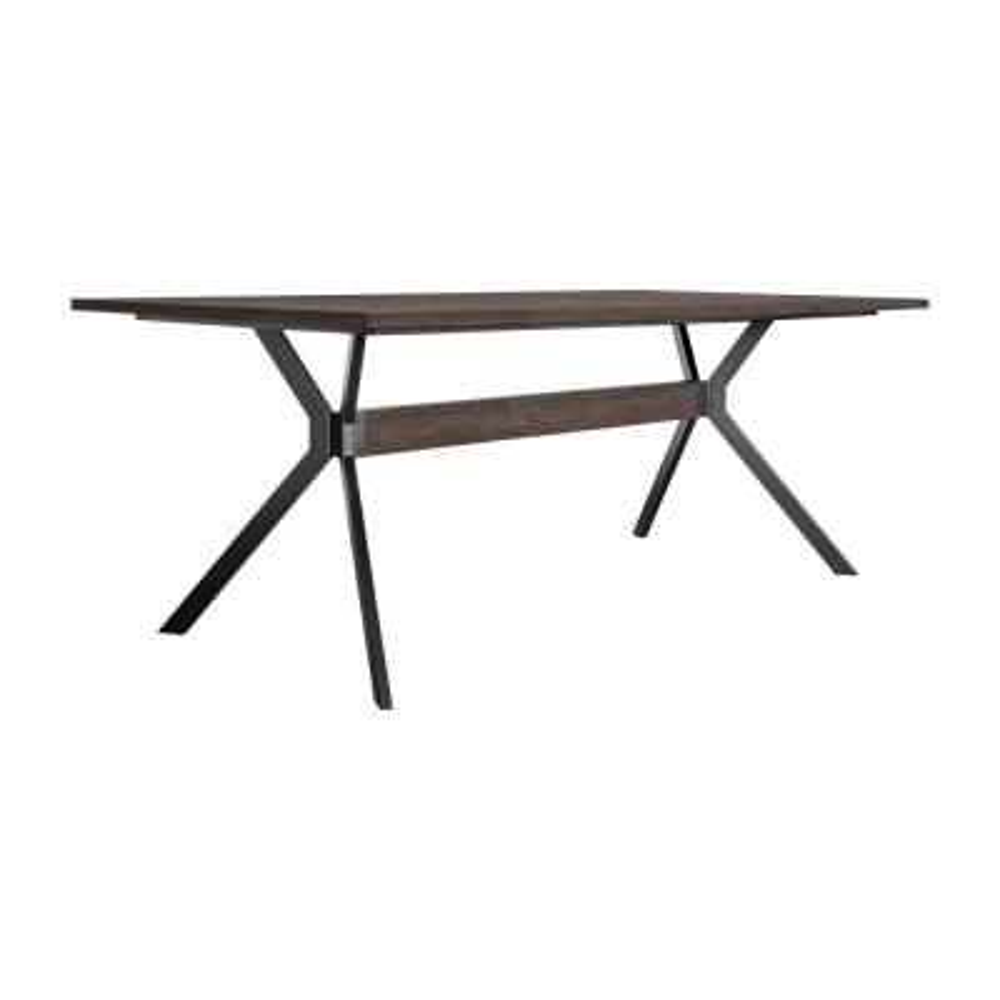 Nevada Rustic Smoke Oak Wood Trestle Base Dark Brown Dining Table