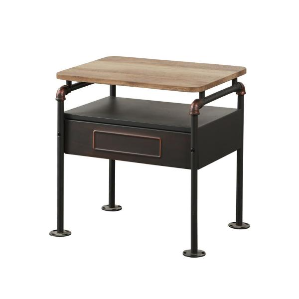 Acme Furniture Nicipolis Sandy Gray and Antique Oak Nightstand 30737