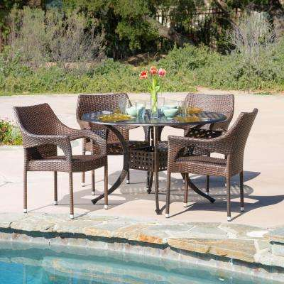 Cliff Bronze and Mixed Brown 5-Piece Aluminum and Wicker Circular Outdoor Dining Set