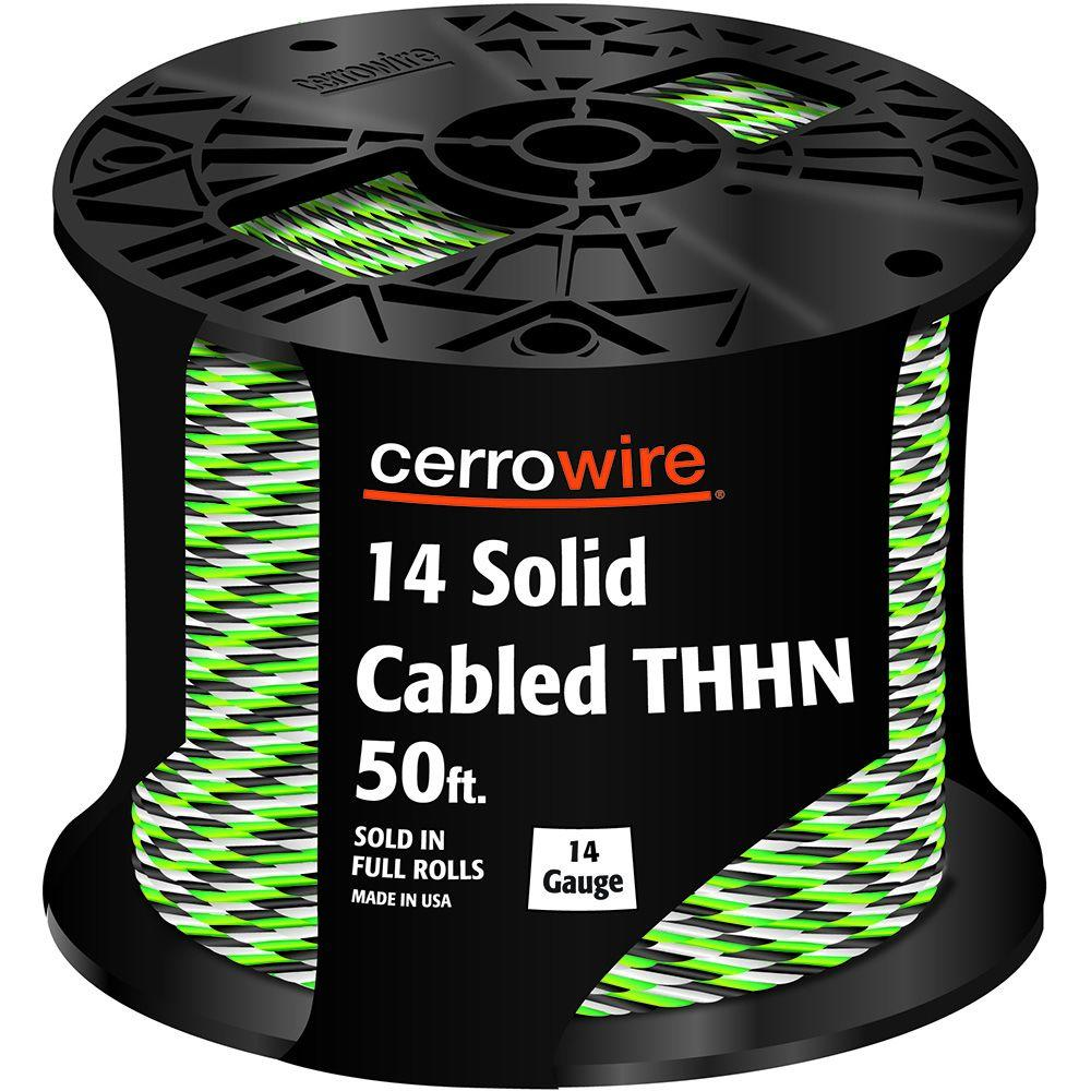 Cerrowire 50 ft. 14-3 Black, White and Green Cabled Solid THHN Cable