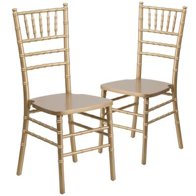 Gold Wood Chiavari Chairs (Set of 2)