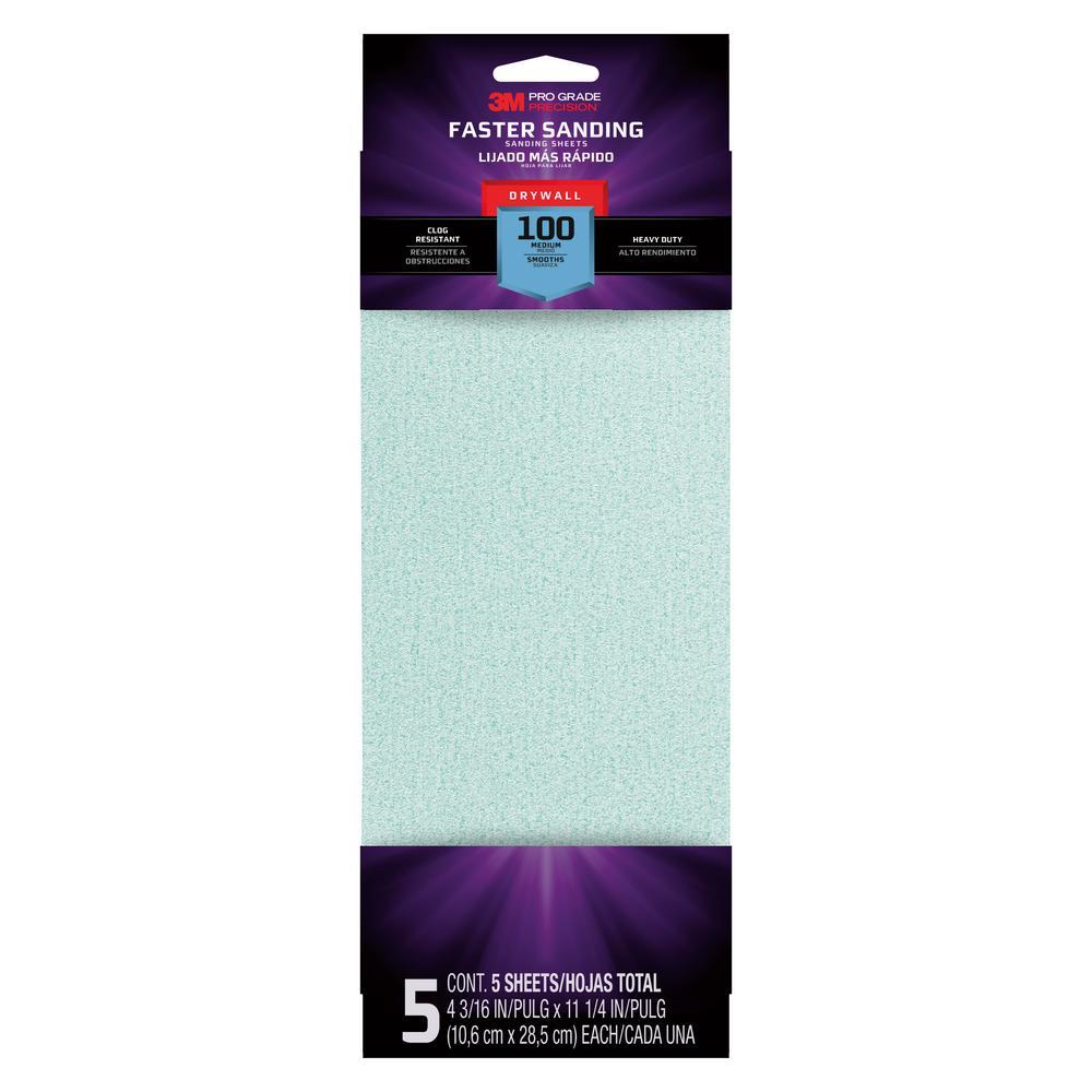 Pro Grade 4-3/16 in. x 11-1/4 in. 100-Grit Drywall Sanding Sheet (5-Pack)