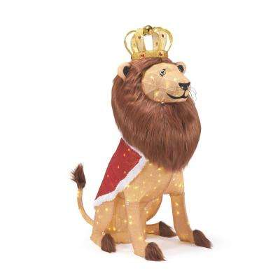 60 in. Life Size Christmas Lion Yard Decoration with LED Lights