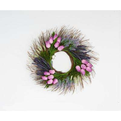 22 in. Tulip Heather Wreath on Natural Twig Base in Purple
