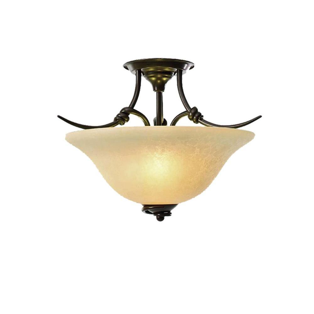 3-Light Golden Bronze Semi-Flush Mount Light
