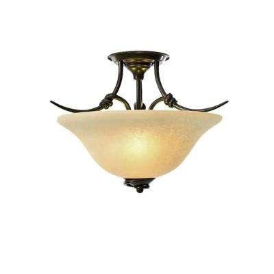 3-Light Golden Bronze Semi-Flush Mount Light