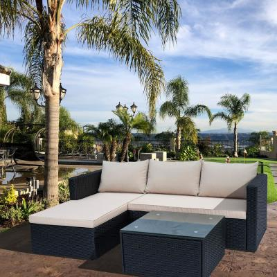 Black 3-Piece Wicker Outdoor Sectional Sofa Set with Beige Cushions