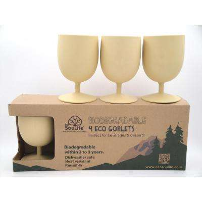 Eco 15 oz. 4-peice Almond Bamboo Goblet Set