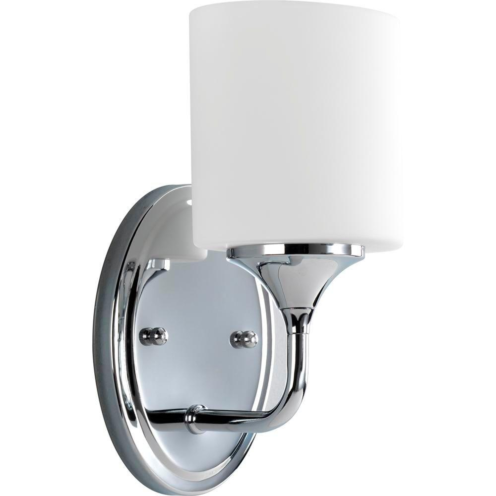 Progress Lighting Lynzie Collection 1 Light Chrome Bath Sconce With Opal Etched Glass Shade