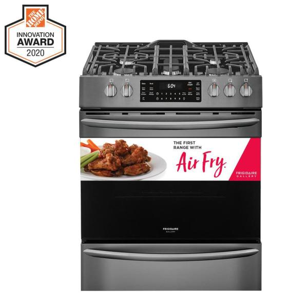30 in. 5.6 cu. ft. Front Control Gas Range with Air Fry in Black Stainless Steel