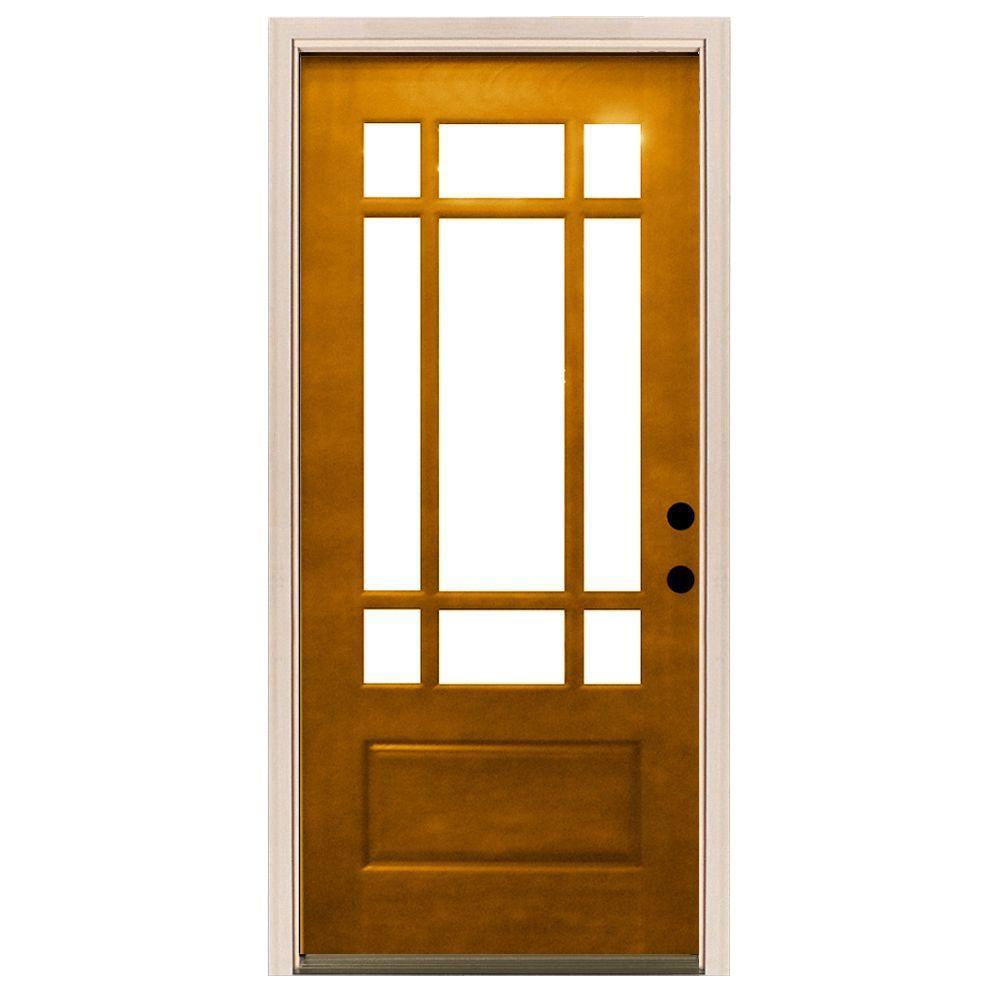 Steves & Sons 36 in. x 80 in. Craftsman 9 Lite Stained Mahogany Wood Prehung Front Door