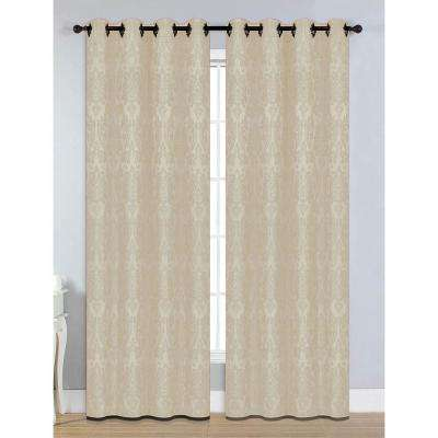 Semi-Opaque Veronica Jacquard Extra Wide 84 in. L Grommet Curtain Panel Pair, Beige (Set of 2)