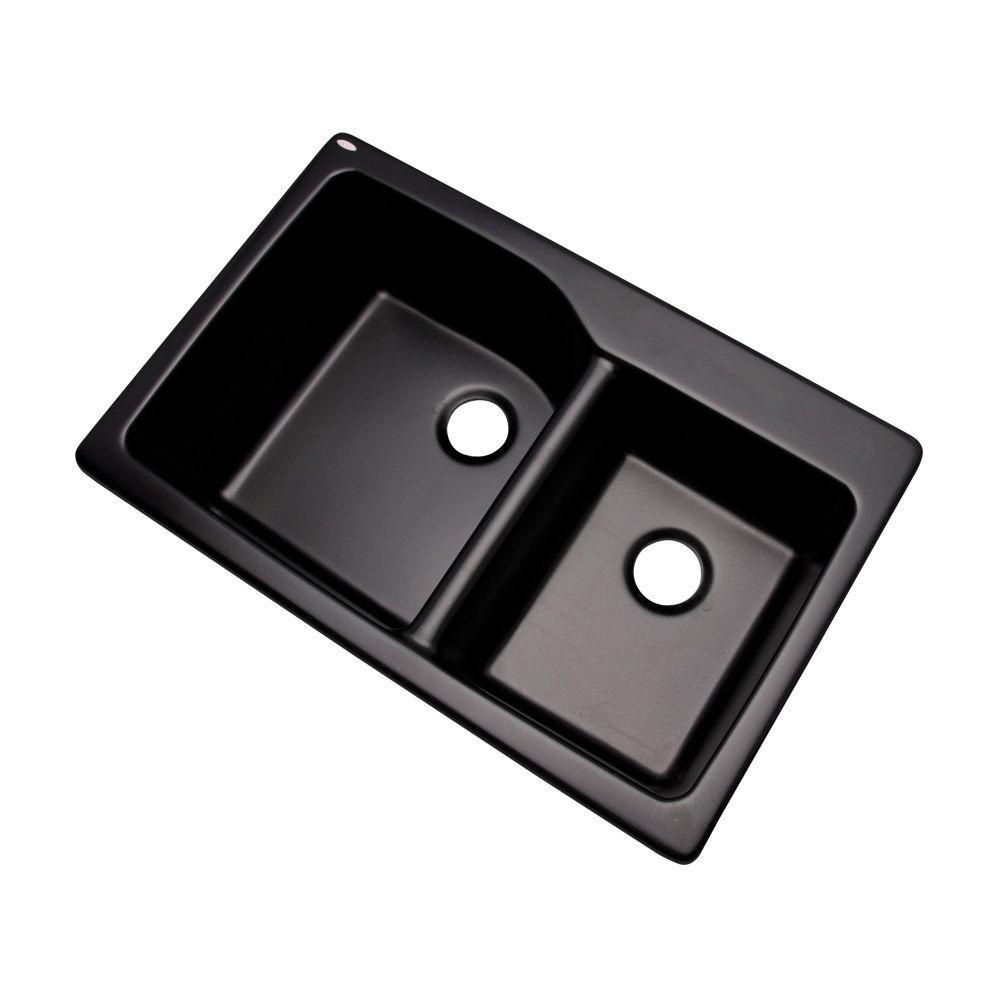 Grande Drop-In Composite Granite 34 in. Double Bowl Kitchen Sink in Black
