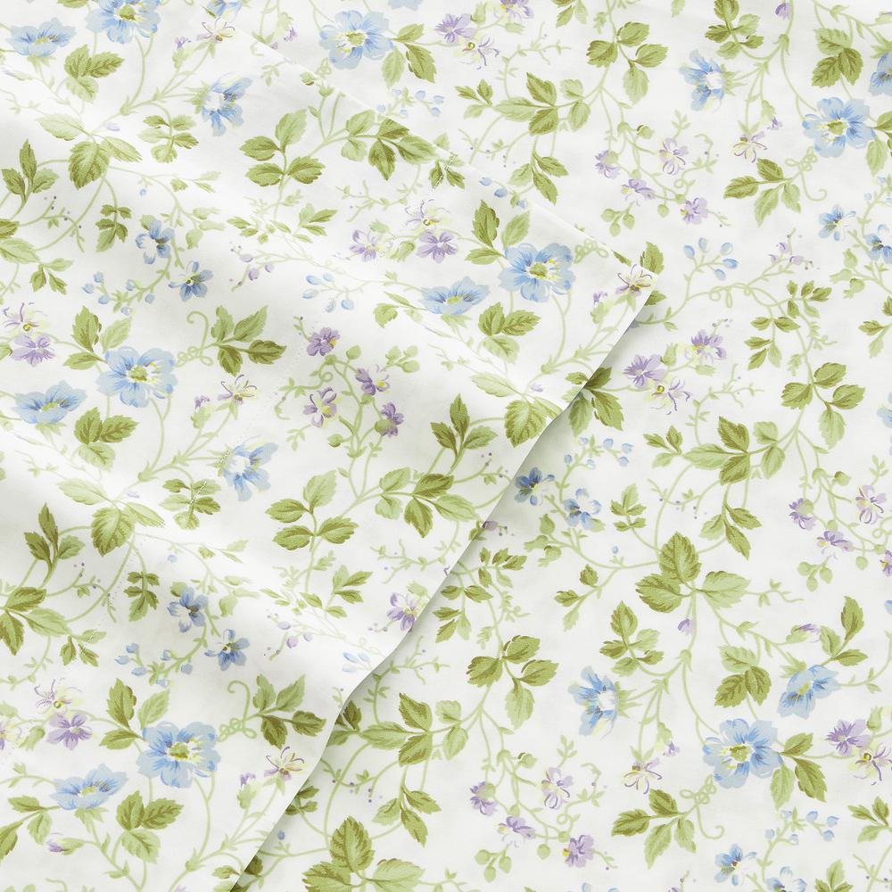 Spring Bloom Peddle Blue 4-Piece Full Cotton-Flannel Sheet Set