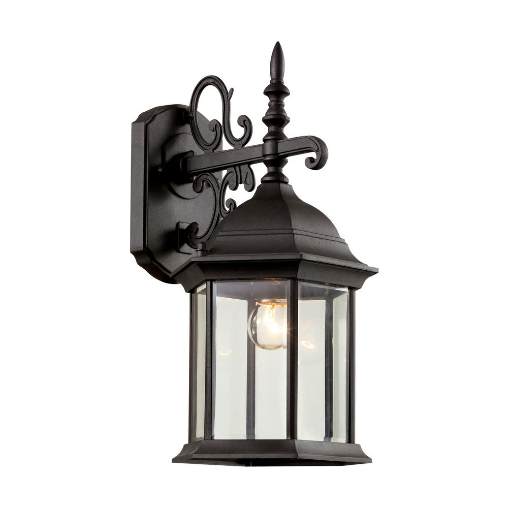 1-Light Black Outdoor Wall Lantern With Clear Beveled Glass