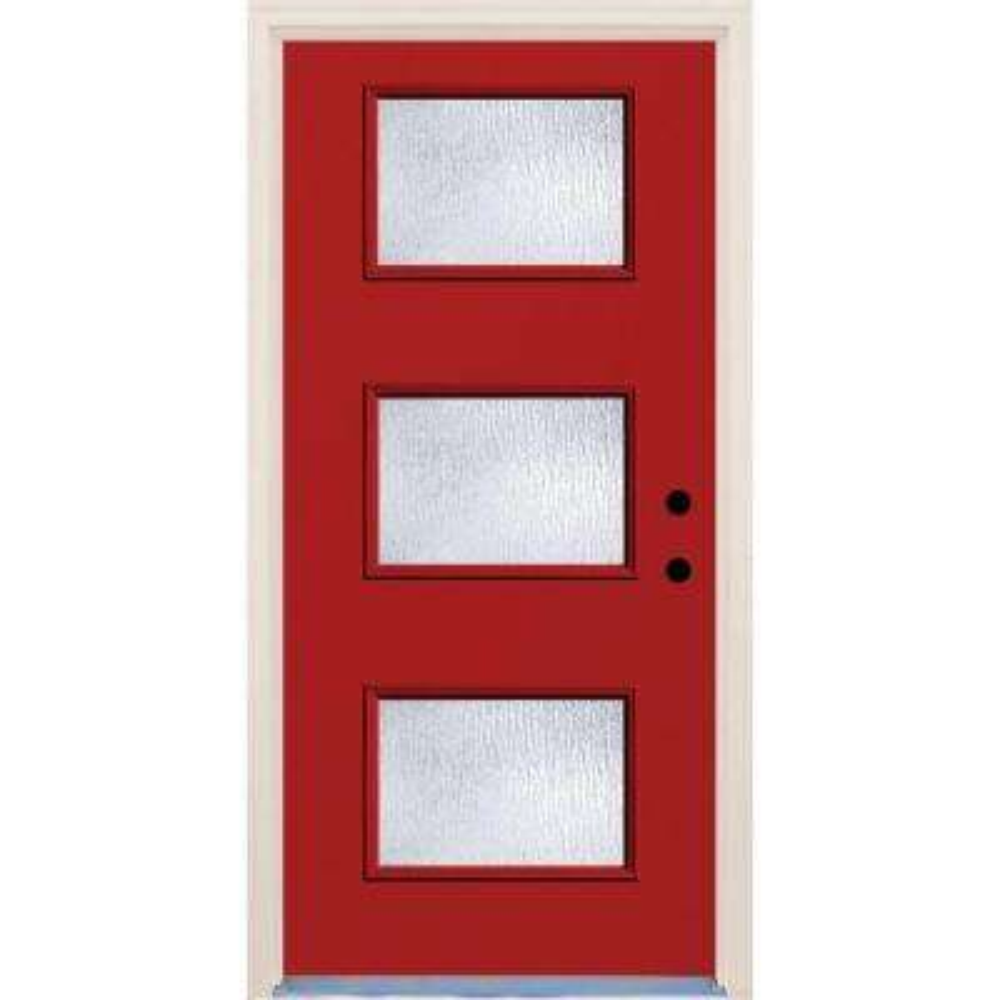 36 in. x 80 in. Engine Left-Hand 3 Lite Rain Glass Painted Fiberglass Prehung Front Door with Brickmould