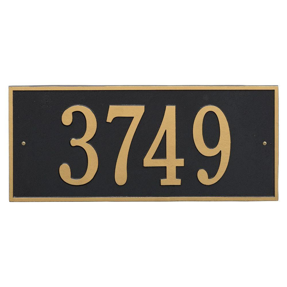 Hartford Rectangular Black/Gold Estate Wall 1-Line Address Plaque