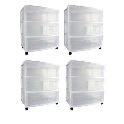 25.625 in. H x 15.25 in. W x 21.875 in. D Home 3 Drawer Wide Storage Cart Container with Casters (4-Pack)