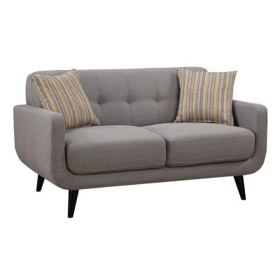 Crystal Gray Upholstered Mid-Century Tufted Loveseat with 2-Accent Pillows