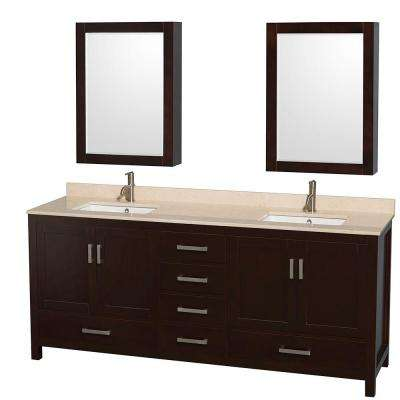 Sheffield 80 in. Double Vanity in Espresso with Marble Vanity Top in Ivory and Medicine Cabinets