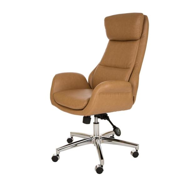 Glitzhome Camel Brown Mid Century Modern Leatherette Gaslift Adjustable Swivel Office Chair Gh1009202149 The Home Depot