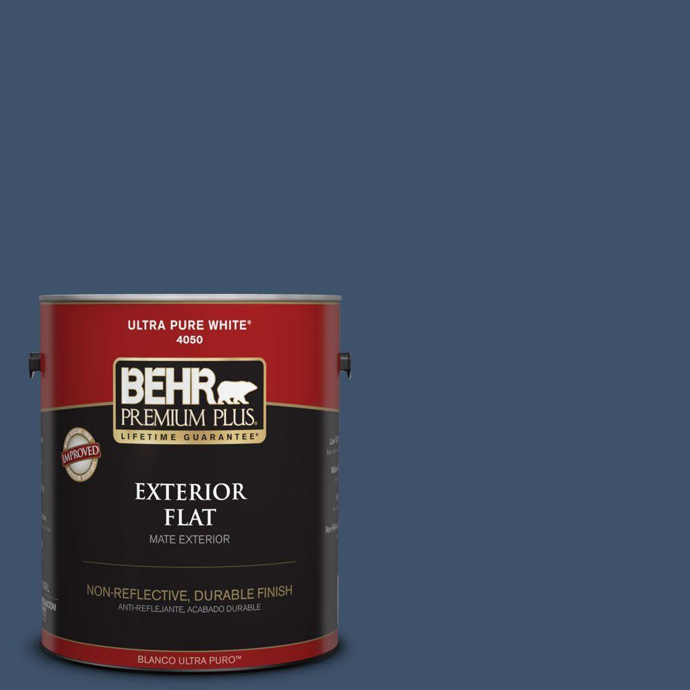 BEHR Premium Plus 1-gal. #HDC-SM14-7 Midnight Mosaic Flat Exterior Paint