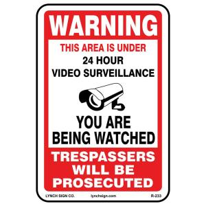 graphic about Video Surveillance Signs Printable named Hillman 18 inside of. x 12 inside. Aluminum Caution Basic safety Cameras