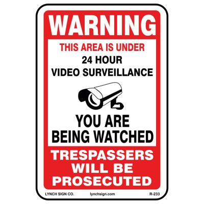 12 in. x 18 in. Video Surveillance Sign Printed on More Durable Thicker Longer Lasting Styrene Plastic