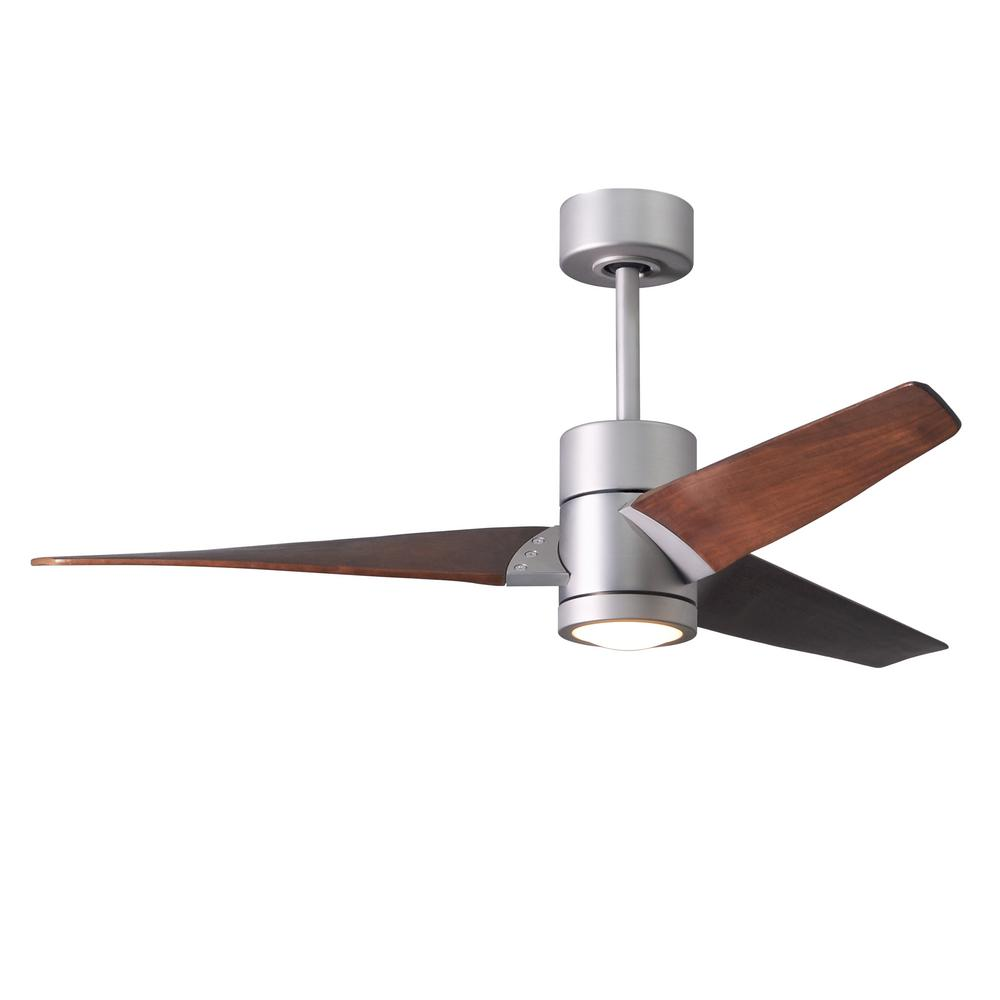 Super Janet 52 in. LED Indoor/Outdoor Damp Brushed Nickel Ceiling Fan