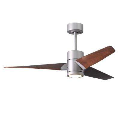 Super Janet 52 in. LED Indoor/Outdoor Damp Brushed Nickel Ceiling Fan with Light with Remote Control, Wall Control