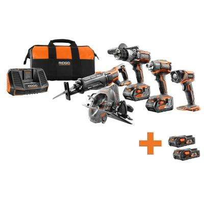 18-Volt Lithium-Ion Cordless 5-Tool Combo Kit with Bonus 18-Volt 1.5 Ah Lithium-Ion Battery (2-Pack)