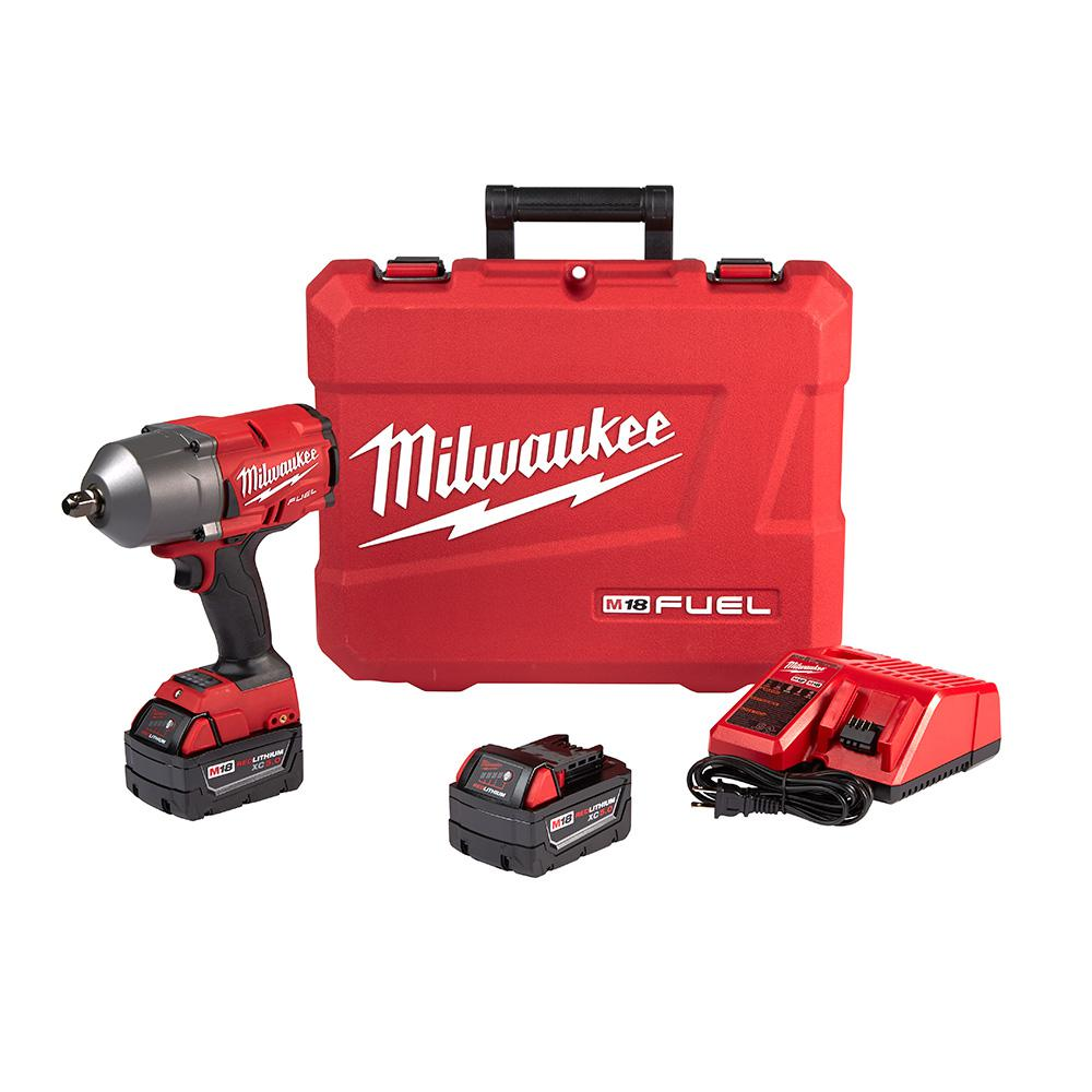 Milwaukee Milwaukee M18 FUEL 18-Volt Lithium-Ion Brushless Cordless 1/2 in. Impact Wrench W/ Pin Detent Kit W/ (2) 5.0Ah Batteries
