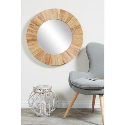 Litton Lane Round Handmade Natural Water Hyacinth Wall Mirror