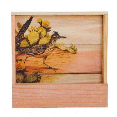 Deluxe 17.5 in. x 17.5 in. Wood Wall Planter with Road Runner Art