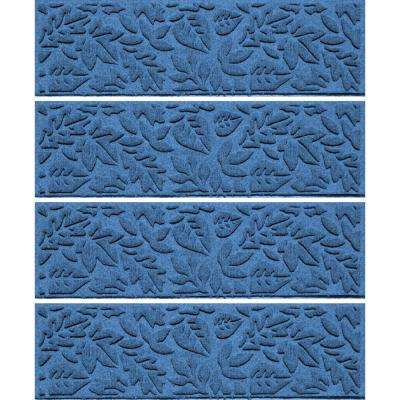 Medium Blue 8.5 in. x 30 in. Fall Day Stair Tread Cover (Set of 4)