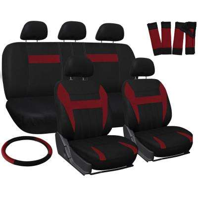 Polyester Seat Covers Set 26 in. L x 21 in. W x 48 in. H 17-Piece Seat Cover Set Red and Black