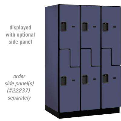 27000 Series Double Tier S Style 24 in. D 6 Compartments Extra Wide Designer Wood Locker in Blue