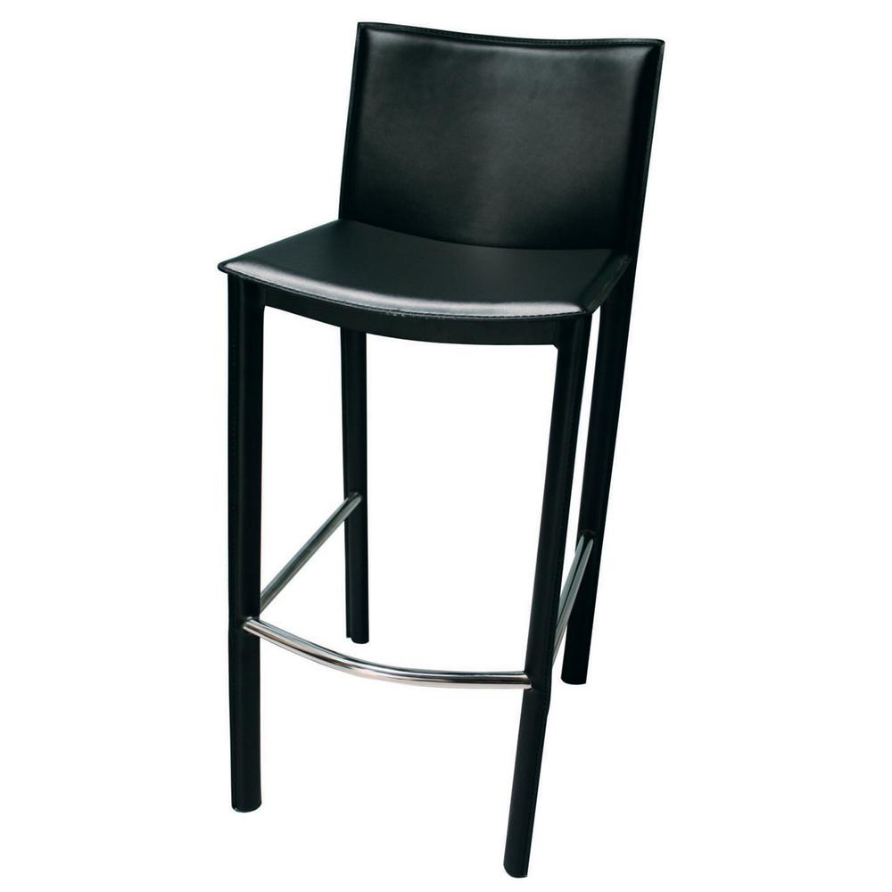 Black steel and leather bar stool