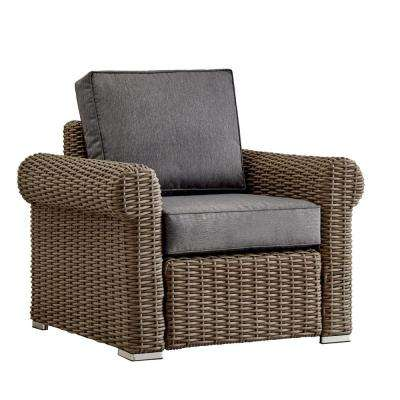 Camari Mocha Rolled Arm Wicker Outdoor Patio Lounge Chair with Gray Cushion