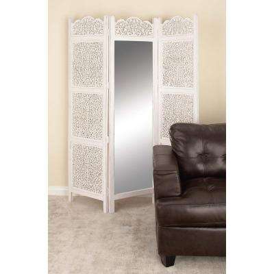 72 in. x 60 in. Classic Wood and Mirror Three-Panel Screen with Matte White Finish