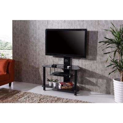 35 in. Wide Glass TV Stand with Swiveling Mount