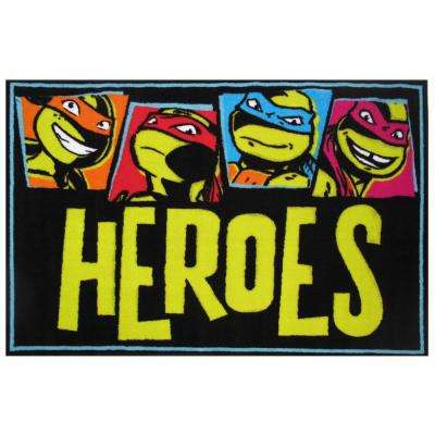 Ninja Turtles Heroes Black 2 ft. x 2 ft. Area Rug