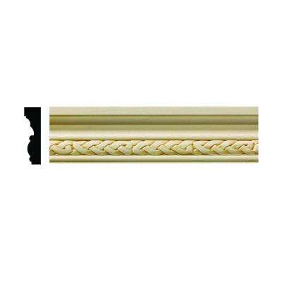 1606 1/2 in. x 1-3/4 in. x 6 in. Hardwood White Unfinished Celtic Small Chair Rail Moulding Sample