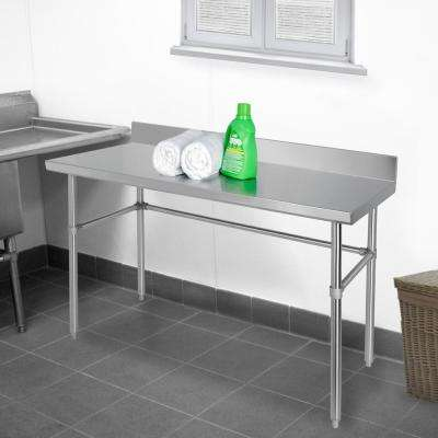 Stainless Steel Kitchen Utility Table with Backsplash