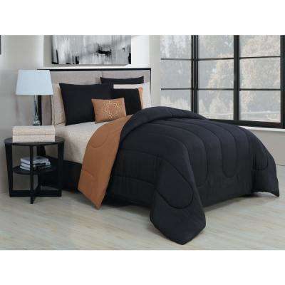 Solid 9-Piece Black/Gold Queen Bed in a Bag