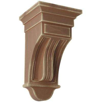 6-1/2 in. x 12 in. x 6-1/2 in. Weathered Brown Raised Fluting Wood Vintage Decor Corbel