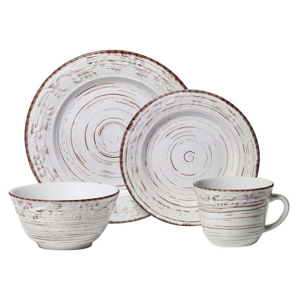 16-Piece Trellis White Dinnerware Set